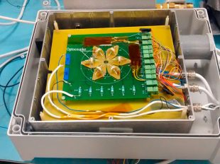 Radiation testing board with six HV optocouplers