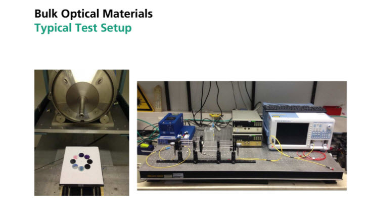 Radiation test on optical materials