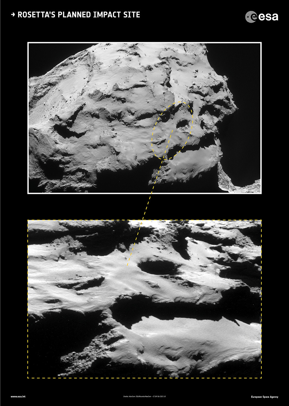 rosetta planned impact site medium