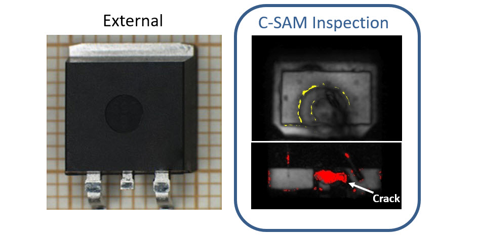 Crack detection within plastic packages
